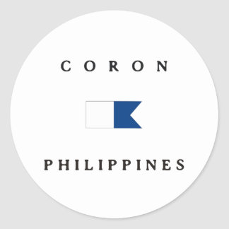 Coron Philippines Alpha Dive Flag Classic Round Sticker