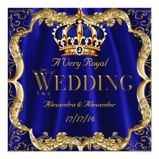 """Corona 2 del oro del boda de la marina de guerra invitación 5.25"""" x 5.25"""""""