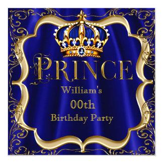 """Corona 2 para hombre del oro del azul real de invitación 5.25"""" x 5.25"""""""