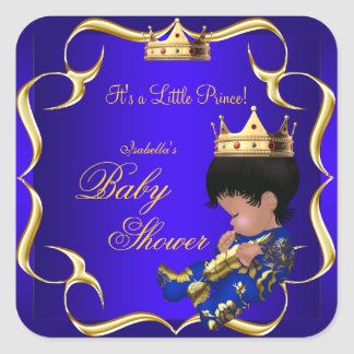 Corona 3 del muchacho del oro del azul real del pegatinas cuadradas personalizadas