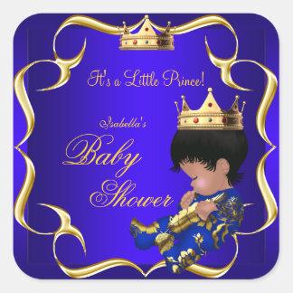 Corona 3 del muchacho del oro del azul real del pegatina cuadrada