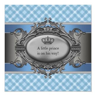 """Corona azul de la tela escocesa pequeña fiesta de invitación 5.25"""" x 5.25"""""""