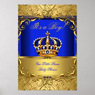 Corona azul del oro de la fiesta de bienvenida al póster