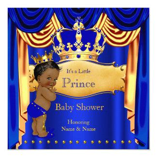 """Corona azul del oro del príncipe fiesta de invitación 5.25"""" x 5.25"""""""