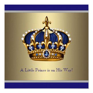 Corona azul del oro pequeña fiesta de bienvenida invitación 13,3 cm x 13,3cm