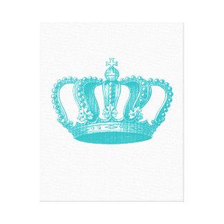 Corona azul del vintage de la aguamarina femenina lona envuelta para galerías