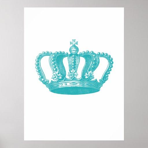 Corona azul del vintage de la aguamarina femenina impresiones