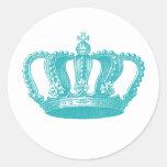 Corona azul del vintage de la aguamarina femenina etiqueta redonda