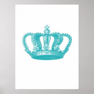 Corona azul del vintage de la aguamarina femenina póster