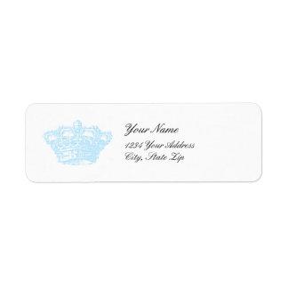 Corona azul etiqueta de remitente