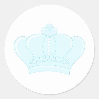Corona azul pegatina redonda