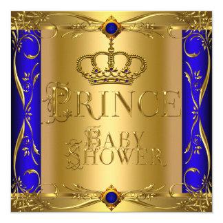 """Corona azul real 9 del pequeño muchacho del invitación 5.25"""" x 5.25"""""""
