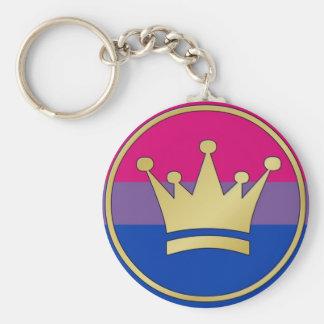 Corona bisexual del orgullo llavero redondo tipo pin