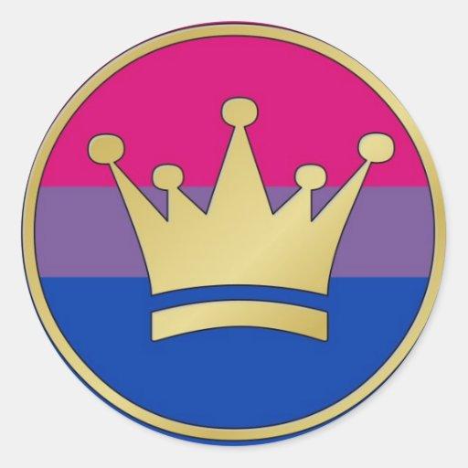 Corona bisexual del orgullo pegatina redonda