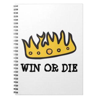 Corona conseguida (de rey bruto del búho de libro de apuntes