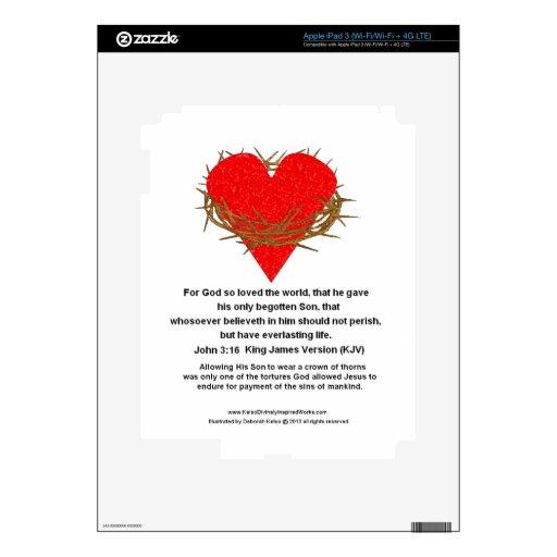 Corona de espinas alrededor de un corazón iPad 3 pegatinas skins