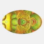 Corona de Kuan Yin de la diosa Pegatina Ovalada