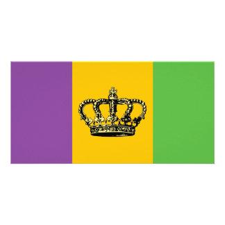 Corona de la bandera del carnaval tarjetas fotograficas