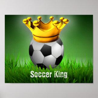 Corona de la bola del rey fútbol del fútbol póster