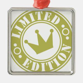 corona de la edición limitada adorno navideño cuadrado de metal