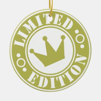corona de la edición limitada adorno navideño redondo de cerámica
