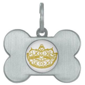 Corona de la etiqueta del mascota de los corazones placa de nombre de mascota