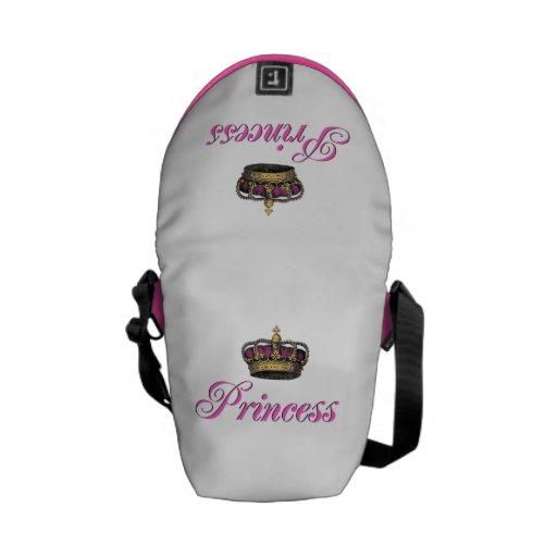 Corona de la princesa en rosas fuertes bolsa de mensajeria