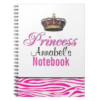 Corona de la princesa en rosas fuertes libreta espiral