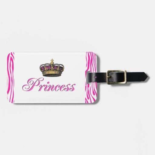 Corona de la princesa en rosas fuertes etiquetas bolsas