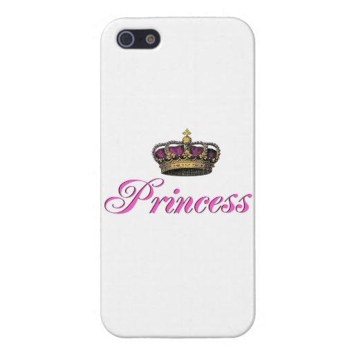 Corona de la princesa en rosas fuertes iPhone 5 fundas