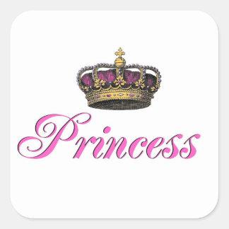 Corona de la princesa en rosas fuertes calcomanías cuadradas personalizadas
