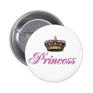 Corona de la princesa en rosas fuertes pin redondo de 2 pulgadas