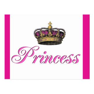 Corona de la princesa en rosas fuertes postal
