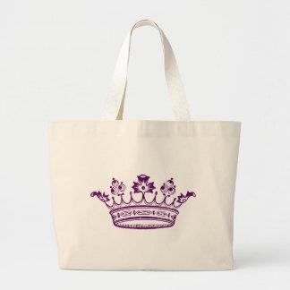 Corona de la púrpura real bolsa tela grande