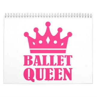 Corona de la reina del ballet calendario de pared