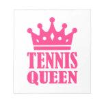 Corona de la reina del tenis bloc de notas