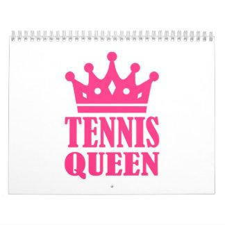 Corona de la reina del tenis calendario de pared