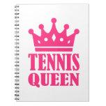 Corona de la reina del tenis cuadernos