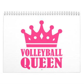 Corona de la reina del voleibol calendario de pared