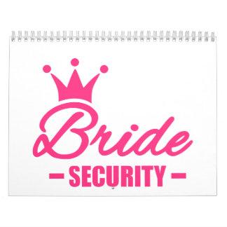 Corona de la seguridad de la novia calendario de pared