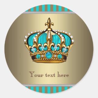 Corona de las azules turquesas y del oro pegatina redonda