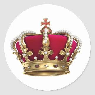 Corona de los derechos pegatina redonda