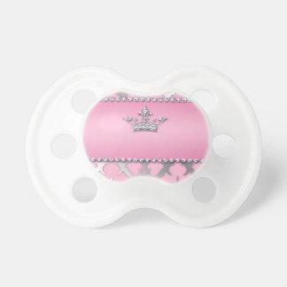 Corona de los regalos del diamante del damasco de chupetes de bebé