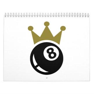 Corona de ocho billares de la bola calendario