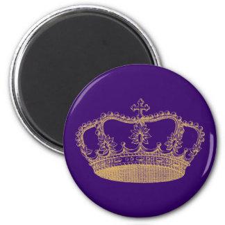 Corona de oro imán redondo 5 cm