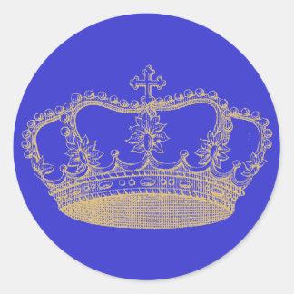 Corona de oro pegatina redonda