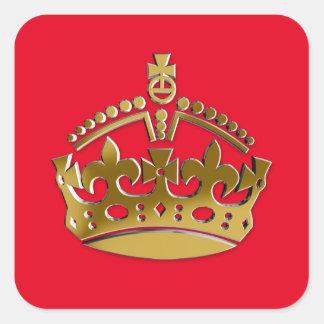 Corona de oro pegatina cuadrada