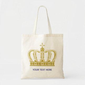 Corona de oro + su texto bolsa tela barata