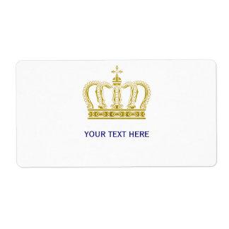 Corona de oro + su texto etiqueta de envío