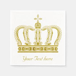 Corona de oro + su texto servilletas desechables